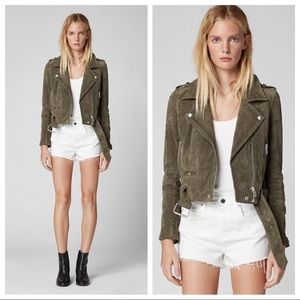 { Blank NYC } Moto Suede Jacket in Herb